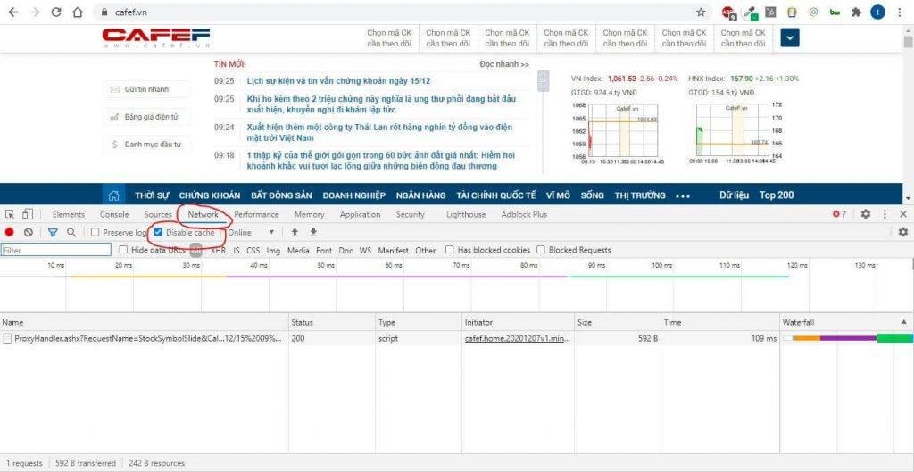 cafef.vn - kiểm tra tốc độ load - develop tools